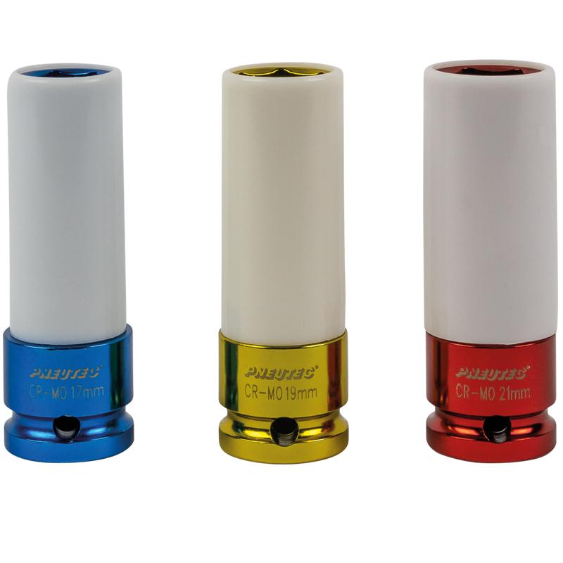 Set 3 chei tubulare de impact cu protectie, 85mm, 1/2