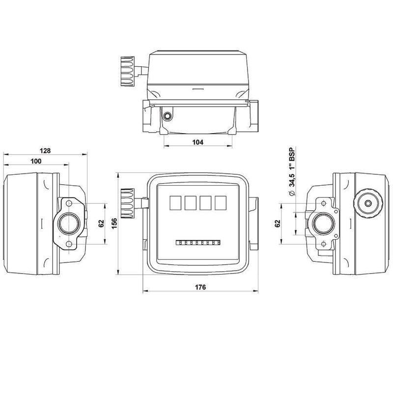 Contor pentru motorina, 4 digiti, tip KX44/1